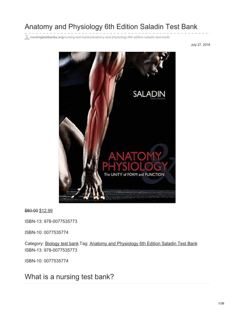 Nursingtestbanks Anatomy And Physiology 6th Edition Saladin Test