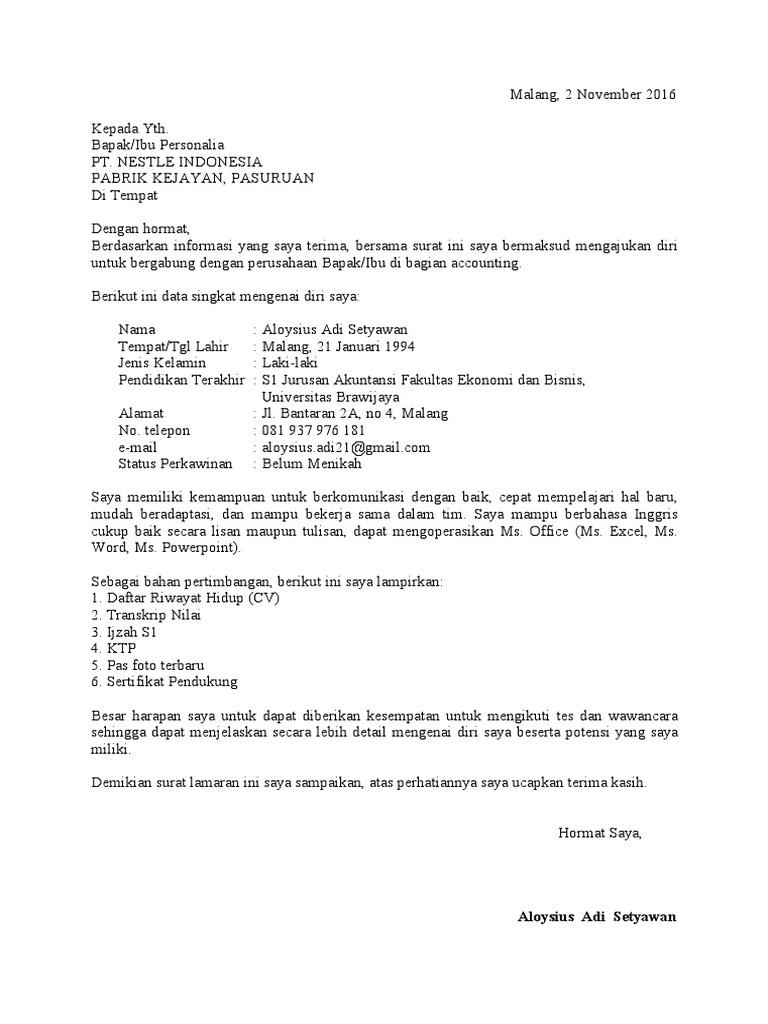 Contoh Surat Lamaran Kerja Di Pt Nestle Edukasi Lif Co Id