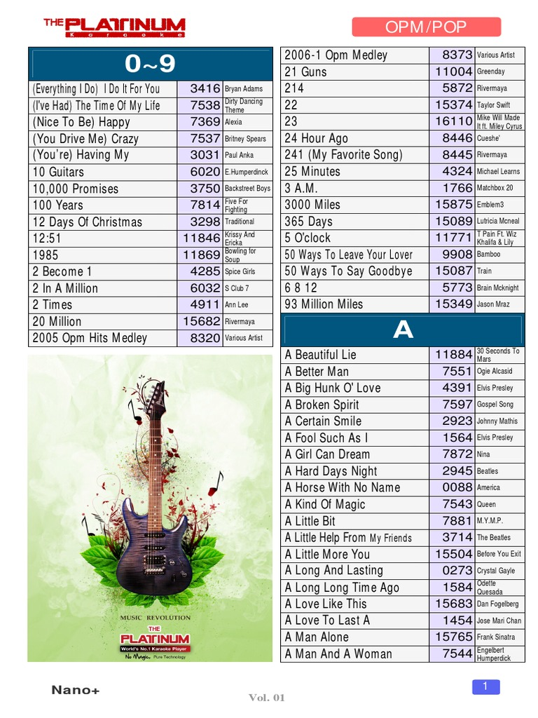 Nano Small Full Songlist Pp 1 86 Only   Musical Groups