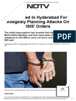 2 Arrested in Hyderabad for Allegedly Planning Attacks on ISIS' Orders