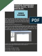 Cara Menghapus Password Atau Proteksi Excel
