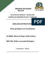 Fallas Geologicas Cochabamba