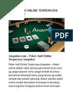 Poker Judi Online Terpercaya Anapoker