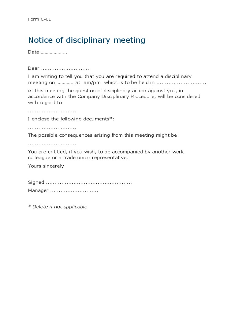 C1 Employee Notice Of A Disciplinary Meeting