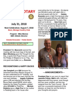 Moraga Rotary Newsletter for July 31 2018