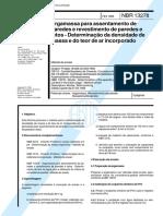 NBR 13278 - 1995 - Argamassa para Assentamento de Paredes e Revestimento de Paredes e Tetos-Determinação da densidade de massa e do teor de ar incorporado.pdf