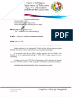 Policy on Ancillary Assignment of Teachers
