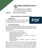 Especificaciones Técnicas Reparación Asfalto Villa La Compañía