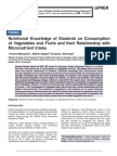 Nutritional Knowledge of Students on Consumption of Vegetables and Fruits and their Relationship with Micronutrient Intake