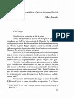 Sobre a Tecno-estética - Carta a Jacques Derrida