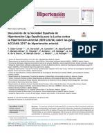 Documento de La Sociedad Espa Ola de Hipertensi n Liga Espa 2018 Hipertensi