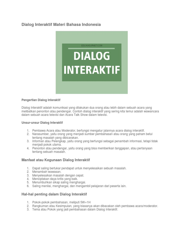 Contoh Dialog Interaktif Yang Melibatkan Penonton Download Gambar