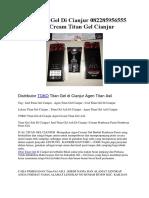Jual Titan Gel Di Cianjur 082285956555 Agen Cream Titan Gel Cianjur