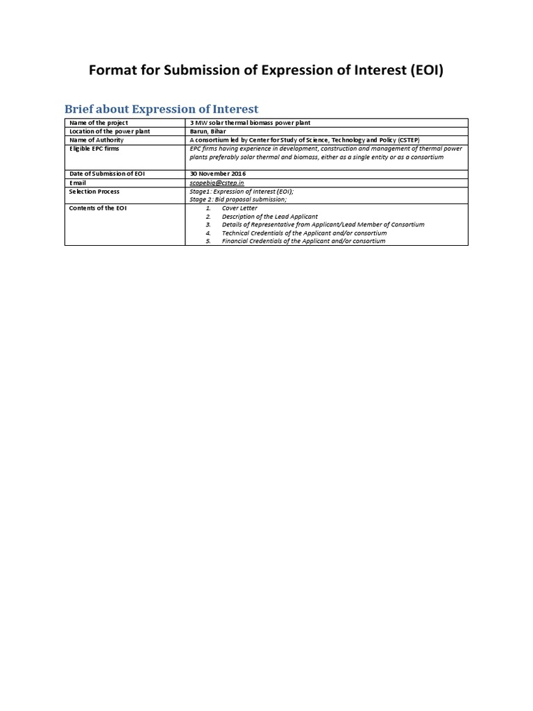 Format for Submission of Expression of Interest (EOI)