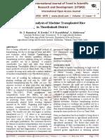 Economic Analysis of Machine Transplanted Rice in Thoothukudi District