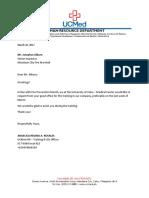 Letter for Fire Training