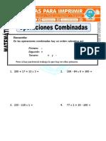 Ficha de Operaciones Combinadas Ejercicios Para Segundo de Primaria