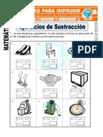 Ficha de Ejercicios de Sustraccion Para Segundo de Primaria