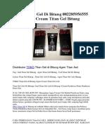 Jual Titan Gel Di Bitung 082285956555 Agen Cream Titan Gel Bitung