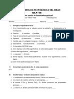 Examen Quimica Iniorganica I