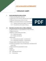 FICHA de ANALISIS LITERARIO Ushan Jampi Lopez Albujar Portada Deicatoria Introduccion