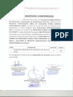 Acta de Recepción de Manguera Vibradoras de Concreto Obra Piscina