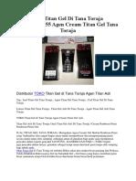 Jual Titan Gel Di Tana Toraja 082285956555 Agen Cream Titan Gel Tana Toraja