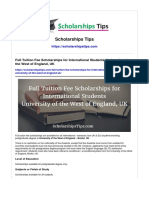 Full Tuition Fee Scholarships for International Students University of the West of England UK