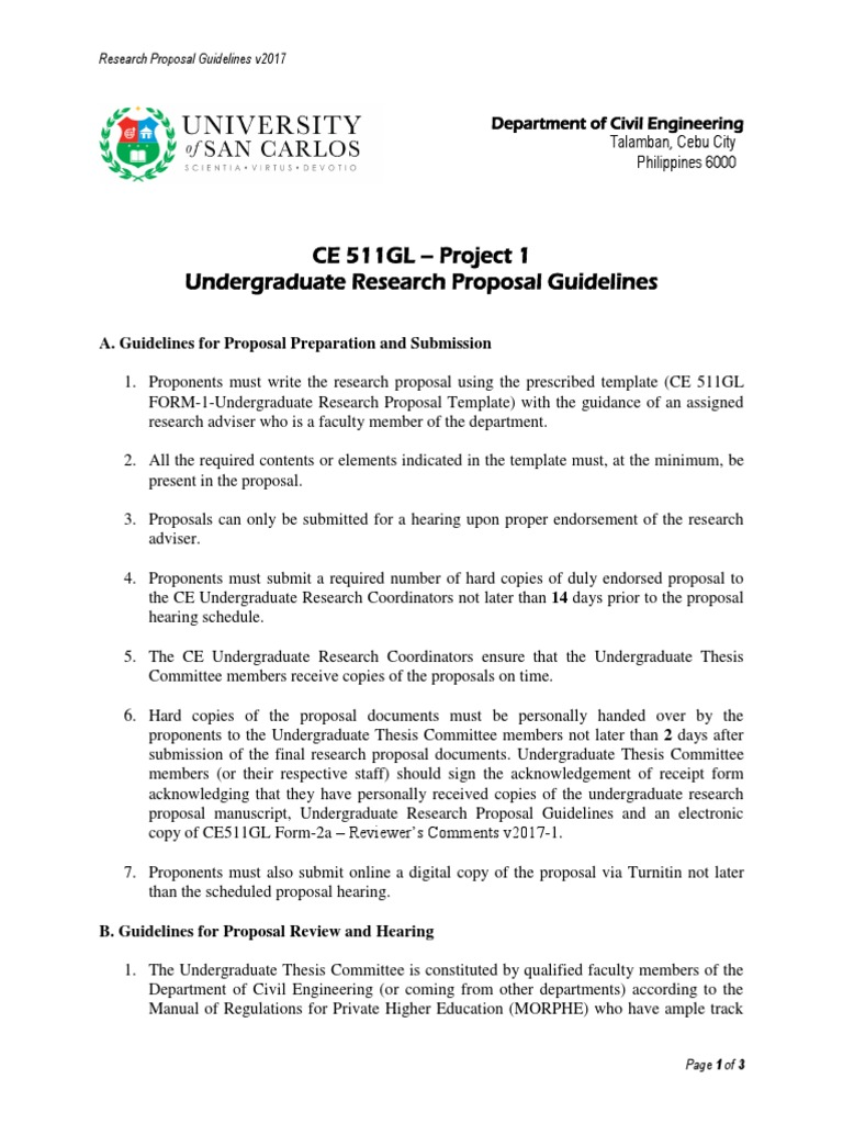 undergraduate thesis project proposal