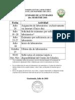 Calendario Actividades de Laboratorio 2do. Sem 2018