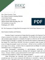 Letter to Senate Judiciary Regarding The Nomination of Judge Brett Kavanaugh to the United States Supreme Court