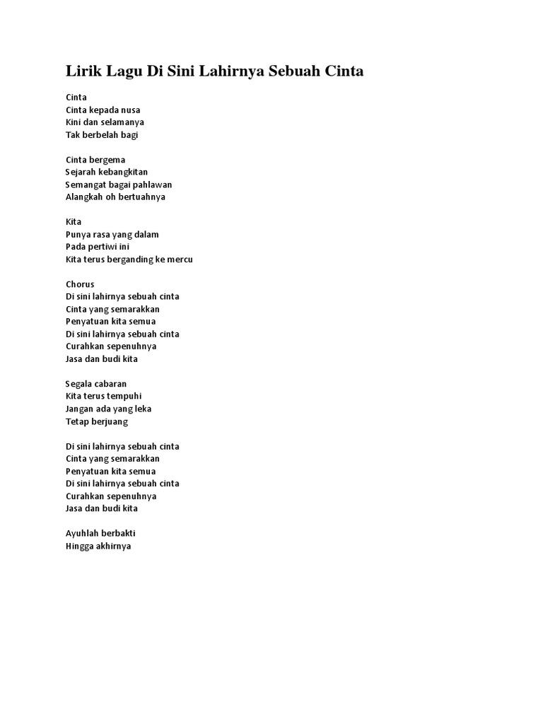 Lirik Lagu Di Sini Lahirnya Sebuah Cinta