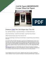 Jual Titan Gel Di Ngawi 082285956555 Agen Cream Titan Gel Ngawi