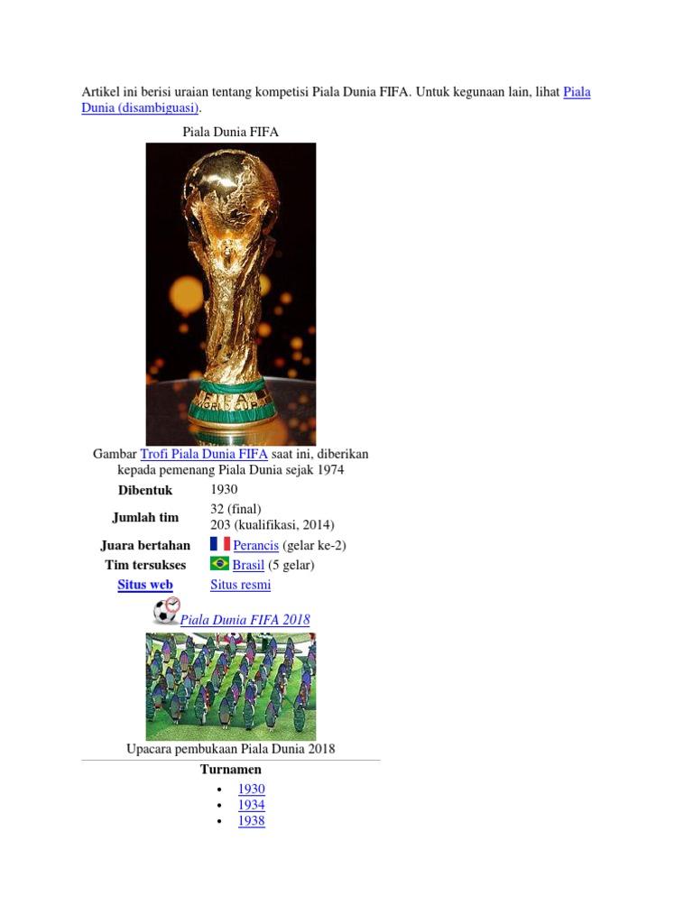 Artikel Ini Berisi Uraian Tentang Kompetisi Piala Dunia FIFA