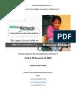Síntesis Educativa Semanal de Michoacán al 13 de agosto de 2018