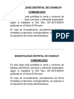 Comunicado Playas