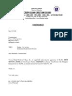 Endorsement Letter Registrar