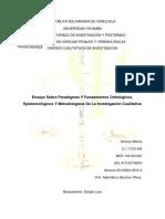 Ensayo Sobre Paradigmas Y Fundamentos Ontológicos, Epistemológicos Y Metodológicos de La Investigación Cualitativa