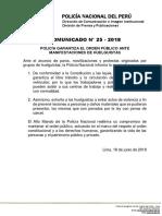 COMUNICADO PNP N° 25 - 2018