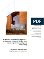 "McDonald's ""Hamburger University"" and popular culture of Mc Donald's improving service quality and productivity    by Carlos Berrera , Abigail Mancilla ,Jorge Yeshayahu Gonzales –Lara"