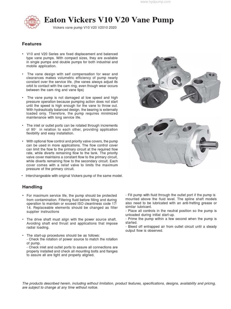 V10 and V20 pdf   Pump   Machines