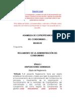 Reglamento de La Administración Del Condominio