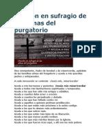 Oración en Sufragio de Las Almas Del Purgatorio
