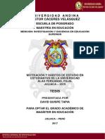 MOTIVACION Y HABITOS DE ESTUDIO EN ESTUDIANTES DE LA UNIVERSIDAD ALAS PERUANAS