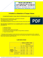 A Guide to a Selection of Torque Values