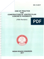 IRC 15 2017 Fifth Revision Code of Practice for Construction of Jointed Plain Concrete Pavements..
