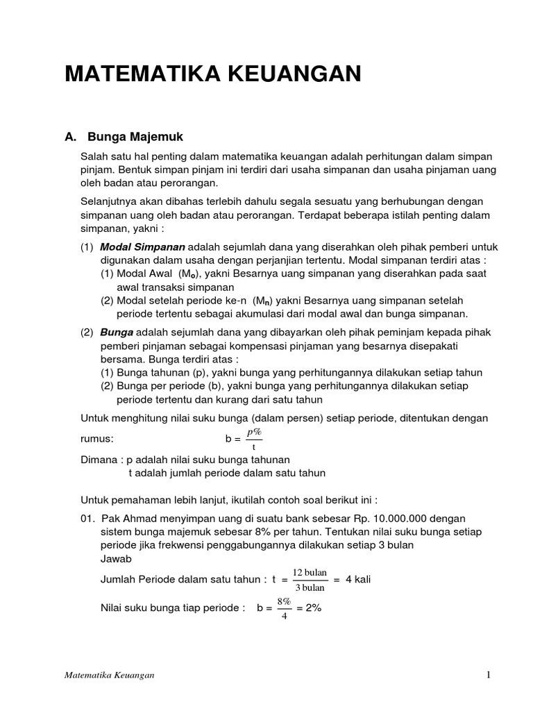 Matematika Keuangan A Bunga Majemuk