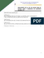 Reglamento de La Ley de Aguas Para El Estado Libre y Soberano de Guerrero