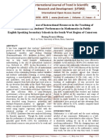 The Influence of the use of Instructional Resources in the Teaching of Mathematics on Students' Performance in Mathematics in Public English Speaking Secondary Schools