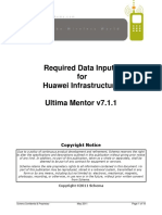 Ultima Mentor Version 7.1 - Required Data Inputs for Huawei